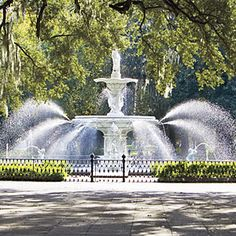 family vacation spots, favorit place, forsyth park, fountains, food