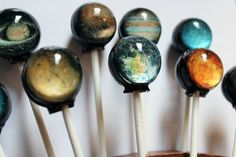 Solar System Lollipops: Available in guava, marshmallow, strawberry, blackberry, cherry and cotton candy. #Candy #Lollipops #Solar_System