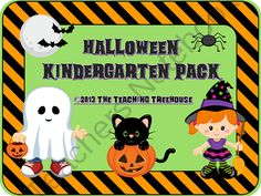 Halloween Kindergarten Pack ~ Printables + Game Cards Pre-K/K from The Teaching Treehouse on TeachersNotebook.com -  (46 pages)  - This pack contains Halloween themed alphabet practice, rhyming, syllables, patterns, numbers 1-20, counting, adding, subtracting, shape sorting, and more! Also included are upper and lowercase ABC and number/counting game cards.