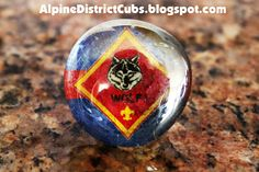 Alpine District Cub Scouts: Glass Stones Blue and Gold Neckerchief Slide