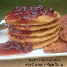 Sweet Potato Pancakes with Maple-Cranberry Syrup ~ a delicious Thanksgiving leftovers recipes | 5DollarDinners.com
