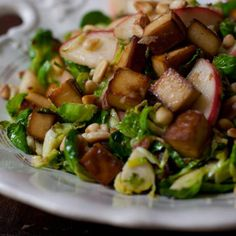 Shredded Brussels Sprouts and Apples: Adding tofu rounds it out for a complete meal, but you can leave it out if you prefer.