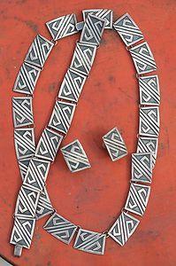 Vintage Mexican Taxco Artemio Navarrete Sterling Silver Demi Parure Necklace | eBay