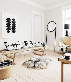 Textured black-and-white interiors.