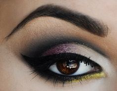 pink yellow black and white eyes #eye #makeup #eyeshadow #smokey #dramatic #dark