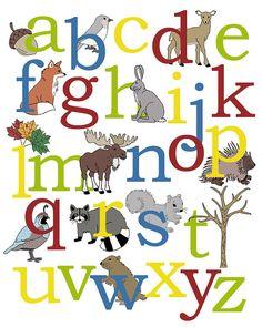 Alphabet+Poster+Woodland+Animals+Woodland+Alphabet+by+AlleyKids,+$23.00