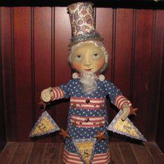 Primitive Folk Art Uncle Sam Doll PFATT by fiddlestixstudios, $75.00