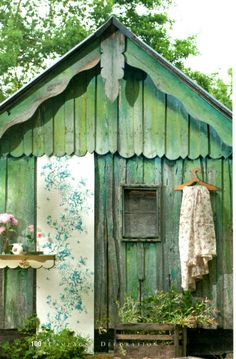 green country shed on the cottage grounds