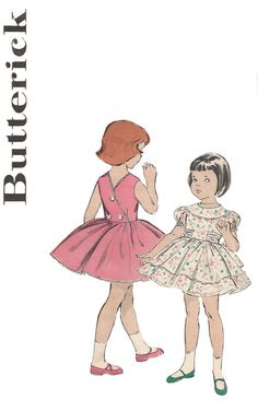 1950s Girl's Sweet Party Dress Butterick 8954 Size 4 by Redcurlzs