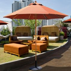 Ideal for condominium or apartment balconies, this 7.5' Sunbrella Wood Market Umbrella is made of high grade wood with premium finish and includes a manual lift system. For $249.00 only!  Product ID : GAL-121-221-SB #PatioUmbrella
