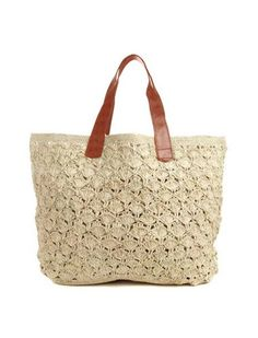 Valencia Crocheted Carryall in Natural design by Mar Y Sol