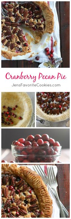 Cranberry Pecan Pie from JensFavoriteCookies.com - tired of pumpkin and apple?  This holiday pie is a delicious variation!  #ad
