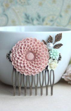 A Large Powder Blush Pink Chrysanthemum Flower Mint