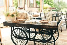 A vintage wagon makes a fabulous buffet table.