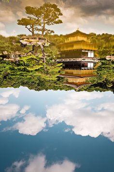 Reflection of Kinkakuji Golden Temple, Kyoto, Japan