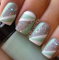 mint green, colors, nail designs, manicures, sparkle nails, nail arts, glitter nails, mint nail, snow white