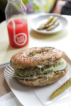 Hand-rolled bagel sandwiches and cold-pressed juices at Bob's Bake Shop in Paris | davidlebovitz.com