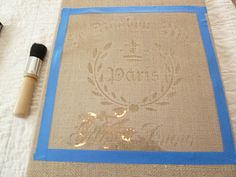 tutorial on stenciling burlap