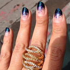 More Glitter, Please: If you have a little more time to fix the nick(s), try this gradient ombre look. Start in the middle of your nail by dabbing glitter lightly on the nail. Then when you get to the tip of the nail (where chips are often more severe) apply a denser coat of glitter. The key is to dab on the glitter vs. stroking it on.