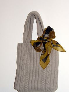 Upcycled Wool Sweater hand bag beige Colored , with a silk handkerchief