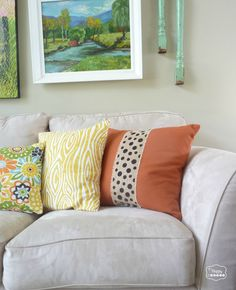 SUPER EASY!! Two Minute Burlap Embellished Fall Pillows tutorial at thehappyhousie