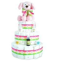 All Diaper Cakes - Puppy Girl Diaper Cake, $109.00 (http://alldiapercakes.com/puppy-girl-diaper-cake/)