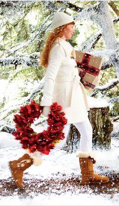 Snowy day shopping