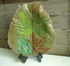 Cement Leaf - Birdbath or Dish - Indoor Outdoor Decoration - Garden, Party, Entryway. $58.00, via Etsy.