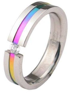 Rainbow Anodized Tension CZ Ring - Gay  Lesbian Pride Stainless Steel Ring w/ CZ Stone