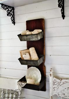 "Barn Wood Wall Bins - a wonderful ""marriage"" of a plank of old barn wood + antique bread tins ~~~by http://knickoftimeinteriors.blogspot.com/ decor, baking pans, idea, bread pan, breads, shelv, tin, antiqu, barn wood"