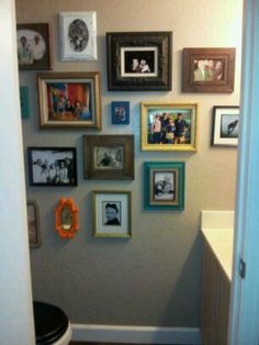 Our bathroom wall!! Vintage frame wall.