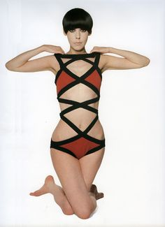 """1971, one-piece wool-knit """"Rouault"""" swimsuit by Rudi Gernreich and Peggy Moffitt.  Gernreich also designed the iconic topless bathing suit."""