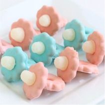 Baby Shower Pacifiers ~ made with Shortbread cookies {pacifier handle} and gum drops {pacifier nipple}