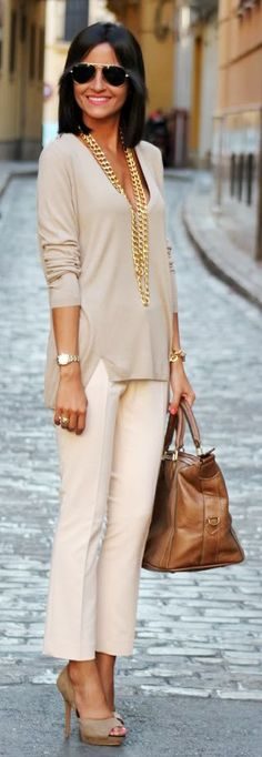 Nudes & gold polished outfit perfect for work #office fashion