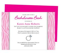 Printable DIY Bachelorette Party Invitations : Febminine Zebra Print Framed Design Bachelorette Party Invitation Template for WORD, Publisher, OpenOffice, and Apple iWork Pages. Download, edit, print.