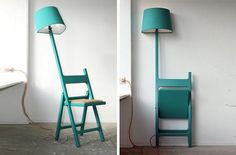 Poetry in Motion: Folding Chair + Floor Lamp Design Fusion