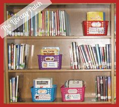 What a great way to organize your series! Keep the books in alphabetical order by author BUT pop the series in a labeled basket.