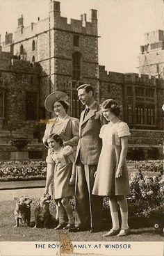 King George VI of UK with his family: Queen Elizabeth I (Elizabeth Angela Marguerite Bowes-Lyon) (1900-2002) UK the Queen Mother, King George VI (Albert Frederick Arthur George) (1895-1952) UK, Princesses Margaret Rose (1930-2002) of York, UK & Elizabeth II  (Elizabeth Alexandra Mary) (1926-living2013) of York, UK by Miss Mertens, via Flickr.