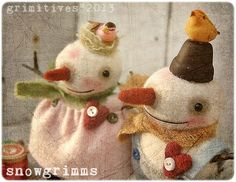 Primitive Felted Valentine Snowman Doll. $40.00, via Etsy.