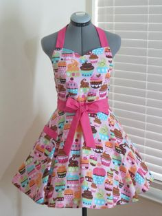 Sweetheart Hostess Apron  Pink Cupcakes  With by AquamarCouture, $37.00