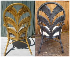 Turning indoor chairs into outdoor chairs with waterproof cushions. This makeover is 100% thrifted, from chair to supplies = $36.96 for all 4 chairs!