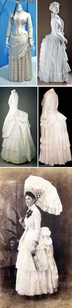 White eyelet, 1880s. Top: Kent State Univ. Museum and Los Angeles County Museum of Art. Second row: American Textile History Museum and Time Travelers Antiques via Extant Gowns.