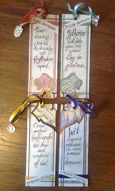 Harry Potter Hogwarts Houses Bookmarks  Gryffindor, Slytherin, Hufflepuff and Ravenclaw!