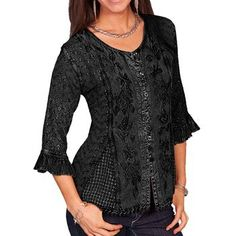 Scully Women's Tonal Embroidered ¾ Length Blouse