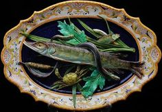 19thc. Victorian French majolica Palissy ware pike fish platter