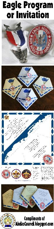 Eagle Scout Award Invitation or Eagle Scout Award Program Printable Idea that looks like a Scout Neckerchief for their Court of Honor. This site has a lot of great Cub Scout Ideas compliments of Akela's Council Cub Scout Leader Training: Utah National Parks Council has planned this exciting 4 1/2 day Cub Scout Leader Training. This fast-paced and inspiring training covers lots of Cub Scout Info and Webelos Outdoor Experience, and much more. Any Cub Scout Leader from any council is ...