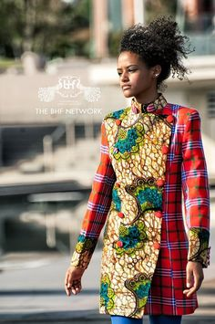 #Maasai plaid with a mix of African print  African Fashion #2dayslook #AfricanFashion #nice  www.2dayslook.com
