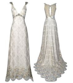 """Claire Pettibone dresses are """"intricate"""", """"vintage"""", """"modest"""", """"often with illusion back"""", """"many of which are not strapless"""", """"stunning"""", and """"unique"""". Bless."""