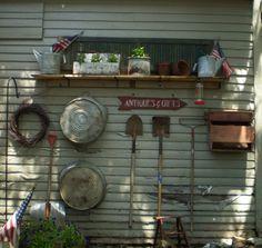 old shutters, cleanses, buckets, garden walls, art, potting benches, primit garden, garden idea, decor idea