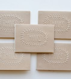 Kraft Stitched Thanks Card Pack |